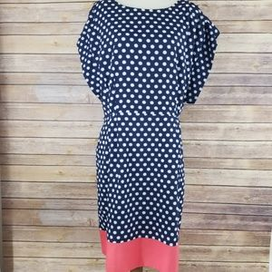 Eliza J Dresses - Eliza J Polka Dot Slouch Sleeve Mid Length Dress